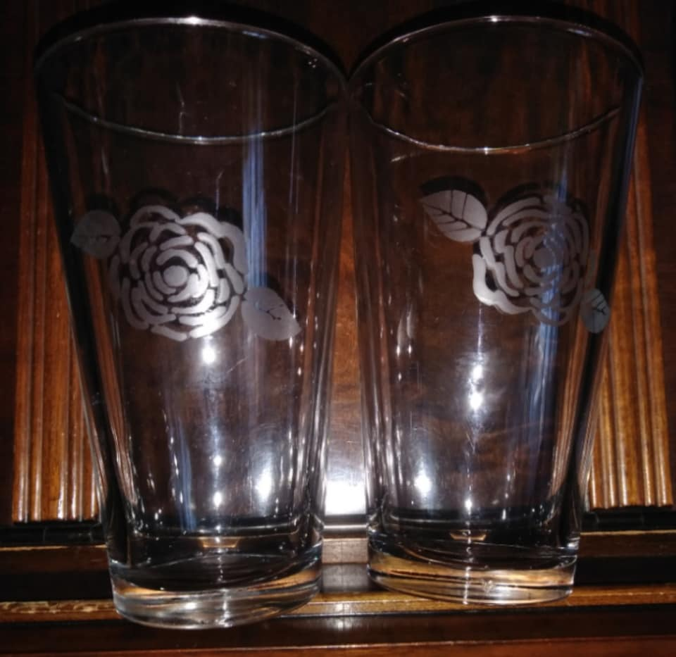 Rose Etched Beer Glasses