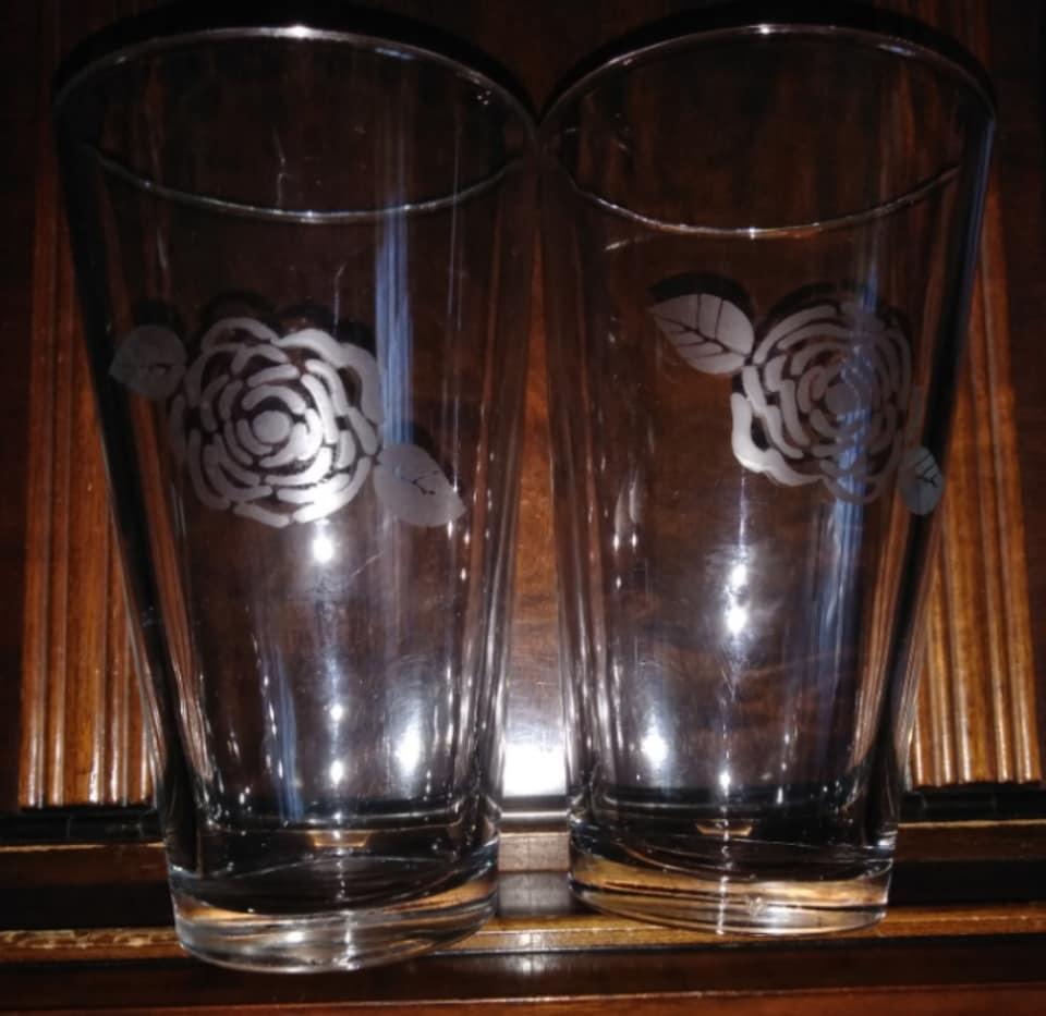 Rose Etched Beer Glasses