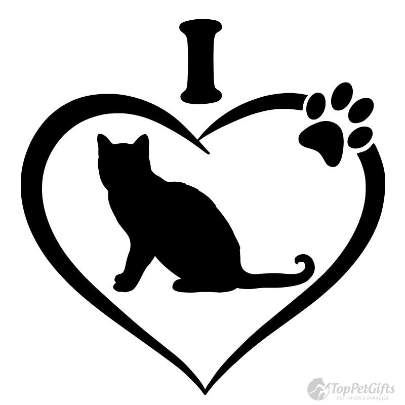 I Love Cats Heart Pawprint